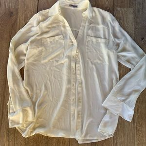 Express sheer white blouse M